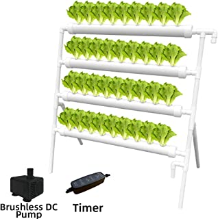 WEPLANT Hydroponic NFT 36 Holes Growing System with Special Fertilizer Timing Cycle, PVC Pipe Garden Plant Kit