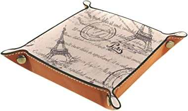 Stamps Eiffel Tower Lettering Tower Paris Pattern Leather Tray Dice Box Bedside Tray Key Watches and Candy Holder Sundries En