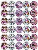 30 decorazioni per cupcake in carta di riso commestibile, motivo: bambole sorprese, decorazioni per torte di compleanno