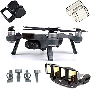 Fstop Labs Accessories Set Bundle Combo for DJI Spark, Lens Cap Hood Sun Shade Camera Cover Protector Landing Gear Antenna Range Booster (4 Pack)