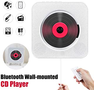 Red tide Wall Mounted CD Player, Surround Sound FM Radio Bluetooth USB MP3 Disk Portable Music Player Remote Control Stereo Speaker Home,White