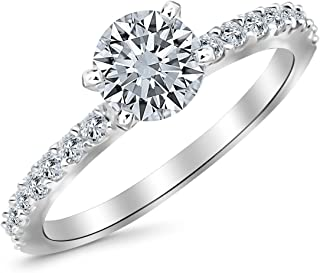 1.15 Carat Classic Sidestone Pave Set Diamond Engagement Ring with a 0.85 Carat I-J I1 Center