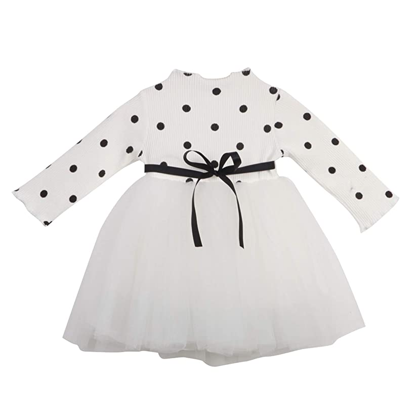 Cute Newborn Kids Babys Girls Clothes Long Sleeve Knit O-Neck Cotton Sashes Dot Lace Tulle Dress Kid Baby Girl Clothes