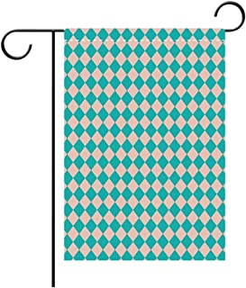 BEICICI Custom Personalized Garden Flag Outdoor Flag Geometrical Vintage Retro 50s 60s Inspired Kitchen Tiles in Diamond Shapes Print Decorative Deck, Patio, Porch, Balcony Backyard, Garden or Lawn