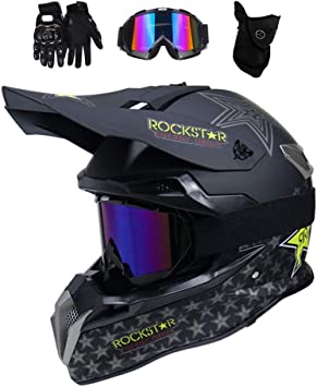 Mrdear Motocross Helm Mit Brille 4 Stück Rockstar Downhill Helm Motorrad Crosshelm Herren Damen Cross Fullface Mtb Helm Mopedhelm Motorradhelm Für Sicherheit Schutz 3 Arten Sport Freizeit