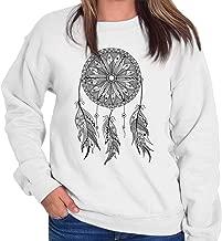 Native American Indian Wolf Dream Catcher Crewneck Sweatshirt