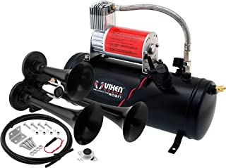 Vixen Horns Train Horn Kit for Trucks/Car/Semi. Complete Onboard System- 150psi Air Compressor, 1.5 Gallon Tank, 3 Trumpets. Super Loud dB. Fits Vehicles Like Pickup/Jeep/RV/SUV 12v VXO8530/3311B
