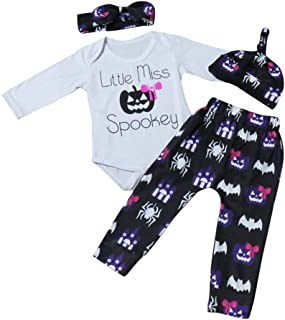 Newborn Romper Infant Baby Girl Long Sleeve Tops Pants Halloween Outfits Clothes Set Letter Bow Printing Romper