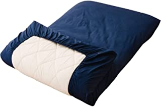 EMOOR Color 100% Cotton Fitted Sheet for The Thick Futon Mattress (Navy), Japanese Queen Size (63 x 82 x 8 in.). Made in Japan