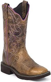 Justin Ladies Gypsy Sq Toe 12in Tan Waxy Boot