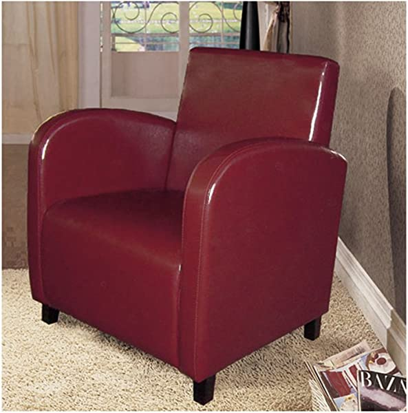 Monarch Specialties I 8051 Leather Look Accent Chair Burgundy