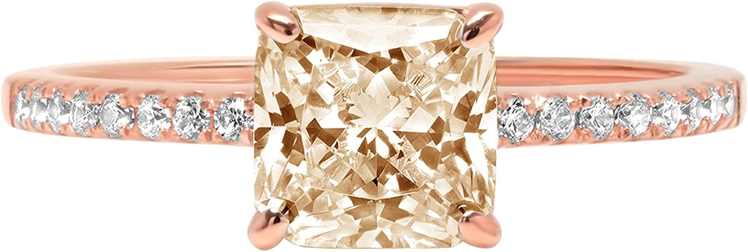 1.71 Brilliant Asscher Cut Solitaire with Accent Stunning Genuine VVS1 Simulated Yellow Moissanite Modern Promise Designer Ring 18K Rose Gold