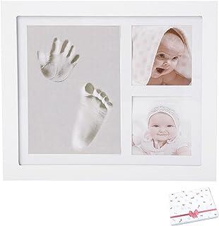 Kit empreintes mains et pieds bébé avec cadre photo | Idée cadeau souvenir ou pour liste de naissance fille ou garçon | Ac...