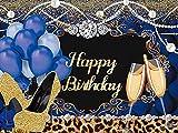 Feliz cumpleaños telón de fondo brillante lentejuelas de oro tacones altos champán diamante azul globos fotografía fondo decoración fiesta mujeres foto stand accesorios 1.5x1m W-5371