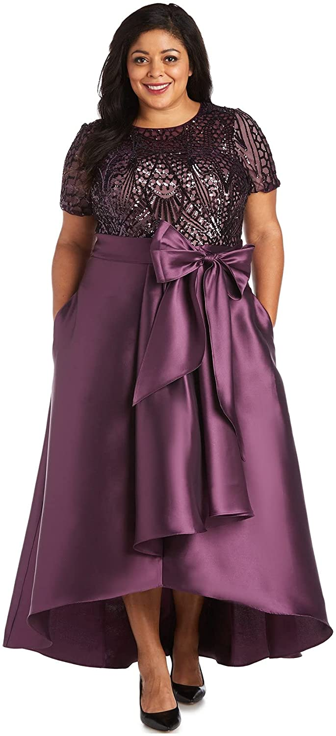 R&M Richards Women's Plus Size Short Sleeve Sequin-Embellished High-Low Gown
