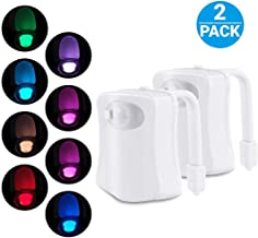 iBetterLife 2 Pack Advanced LED Toilet Lights Motion Detection, 8-Color Changing Inside Toilet Bowl Nightlight, Infrared Auto Motion Activated Sensor Seat Lamp Fixtures (Only Activates in Dark)