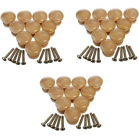 puertas armarios cajones pomos para el hogar Juego de pomos de madera para muebles de 24 mm de color madera para caj/ón 4 piezas