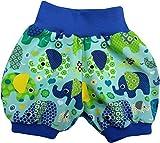 Kurze Babyhose Pumphose Shorts Bunte Elefanten Mint blaues Bündchen (56)
