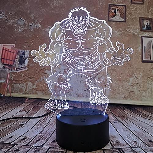 3D Ilusión lámpara Marvel Negro Pantera Hulk Iron Man Spiderman Deadpool Batman Capitán American Decoración Iluminación para-7 Colores cambiantes