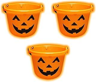 Light Up Jack O Lantern 3 PACK Halloween Candy Bucket Pail