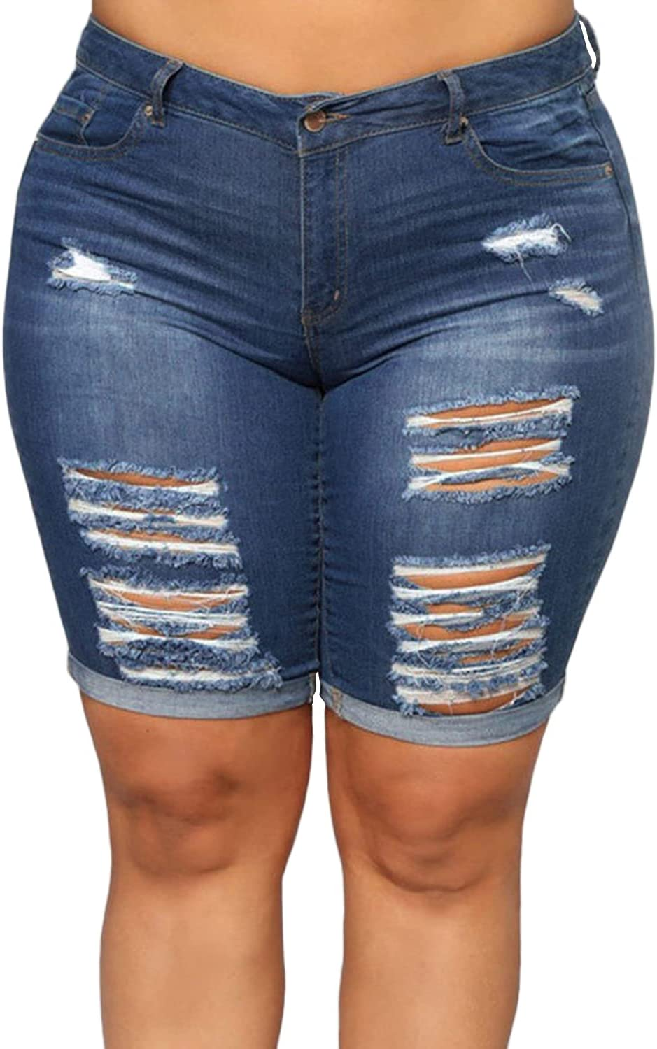 Max 79% Max 50% OFF OFF Women's Ripped Bermuda Jean Shorts with Folded Short Denim Pants
