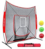 PowerNet DLX 2.0 System (Red) | 7x7 Baseball Hitting Net + Weighted Training Ball 3 Pack + Strike Zone | Swing Harder | Throw Faster | Build Pitch & Hit Specific Muscle Groups Pitching Accuracy