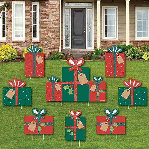 Big Dot of Happiness Happy Holiday Presents - Yard Sign and Outdoor Lawn Decorations - Christmas Party Yard Signs - Set of 8