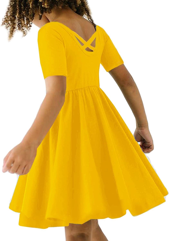 Arshiner Girls Dress Short Sleeve Solid Cotton Dress A-line Skater Dress