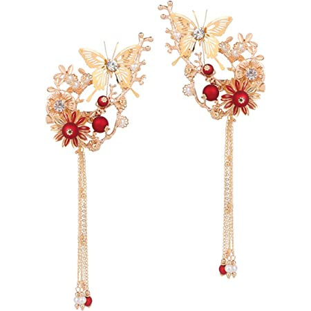 Red Flower HairPin Japanese Kanzashi Bright HairStick Transparent Resin Accessory beautiful Christmas jewerly Gift For Her Russian dipart