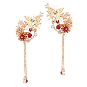 Lurrose Japanese Hairpins Butterfly Tassel Kimono Flower Kanzashi Bobby Pins Hair Clip Hair Ornament Accessory for Traditional Clothes Kimono Decoration