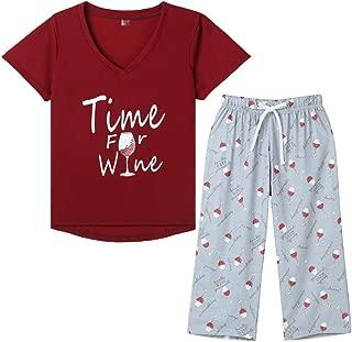 YIJIU Womens Pajama Set Cute Horse Short Sleeve Top and Pants Sleepwear Pjs Set