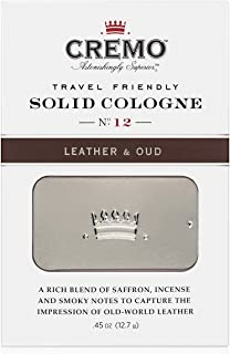 Cremo Solid Cologne That Fits In Your Pocket So You Can Apply Discreetly - Leather & Oud.45 Ounce Tin