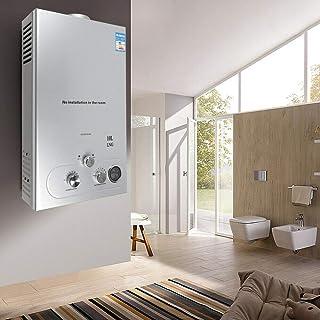 Calentador de agua de gas natural de 10 L 36 kW calentador de agua con juego de ducha calentador de agua caliente montaje en pared radios de agua de acero inoxidable
