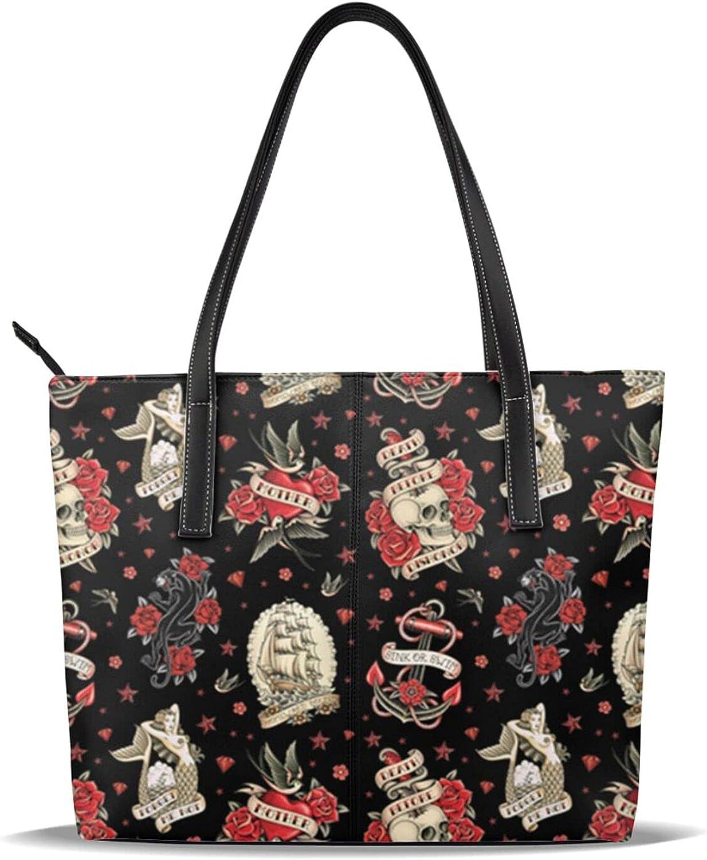Old Mail order cheap Tattos on Black Women's Tote H Shoulder Top Bag Handbag Hand Max 86% OFF