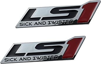 Aimoll LS1 Sick AND TWISTED Engine Emblems Badge, for Gm Chevy Chevrolet Silverado Pair Chrome. (Red)