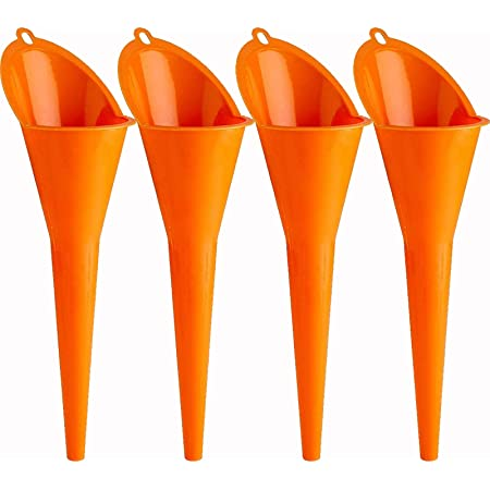 Annurssy 4 Pack Multi-Function Plastic Long Neck Oil Funnel - for All Automotive Oils Lubricants Engine Oils Water Diesel Fuel Kerosene and Other Liquids