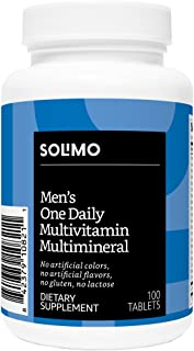 Amazon Brand - Solimo Men's One Daily Multivitamin Multimineral, 100 Tablets, Three Month Supply