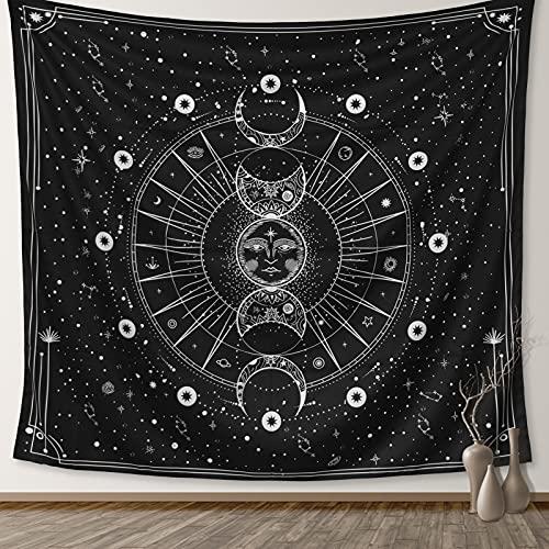 Sanyoczh Tapiz De Pared Luna Y Sol, Psicodélico Blanco Y Negro Tapices De Pared, Aesthetic Room Decor Indio Hippie Tarot Tapestry Decoración De Pared Para Dormitorio Sala De Estar (130*150 Cm)
