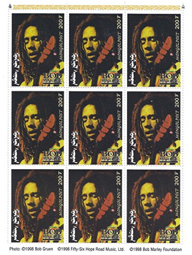 Bob Marley Gedenkbriefmarkenbogen für Sammler mit 9 Briefmarken - Mongolei / MNH / 1998