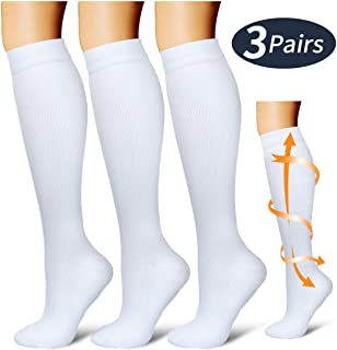 Compression Socks,(3 Pairs) Compression Sock Women & Men - Best Running, Athletic Sports, Crossfit, Flight Travel