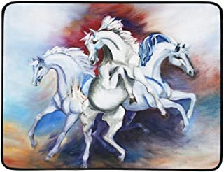 Original Art Galloping Three White Horses Pattern Portable and Foldable Blanket Mat 60x78 Inch Handy Mat for Camping Picnic Beach Indoor Outdoor Travel