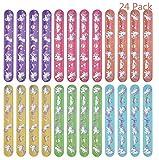 Lynlon 24 x Einhorn Schnapparmbänder | Klatscharmband für Mitgebsel Kindergeburtstag Jungen und Mädchen, als Gastgeschenke
