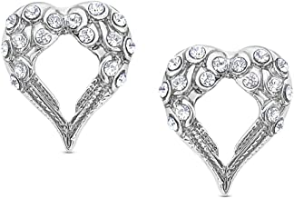 Small Crystal Heart Shaped Guardian Angel Wings Silver Tone Stud Earrings Fashion Jewelry Gift | Religious Jewelry | Easter Gifts for Girls Teens Women
