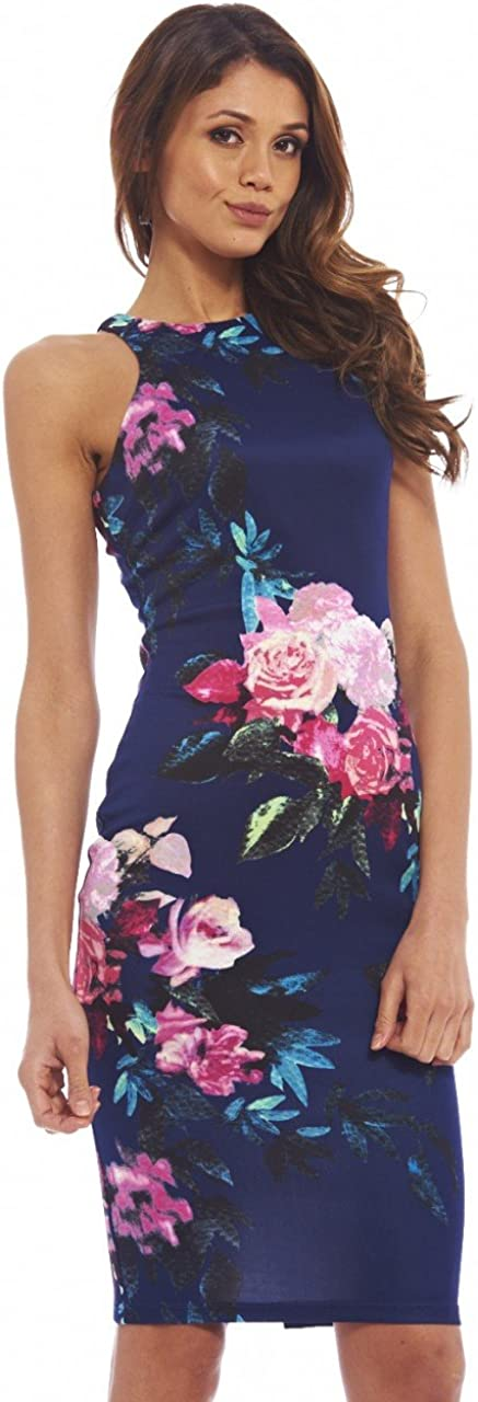 AX Paris Women's Cut in Detail Neck Printed Midi Dress
