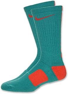 Elite Cushioned Basketball Crew Socks - Large (8-12) - Aqua/Pink - Miami Dolphins - 309
