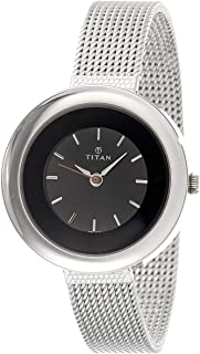 Titan Youth Women's Black Dial Stainless Steel Band Watch - T2482SM02