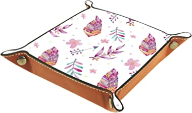 Watercolor Pink Leaves Flowers Desk Storage for Bedside or Entry Way