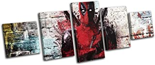 Bold Bloc Design - Deadpool Grafitti Urban Movie Greats 300x120cm MULTI Canvas Art Print Box Framed Picture Wall Hanging - Hand Made In The UK - Framed And Ready To Hang