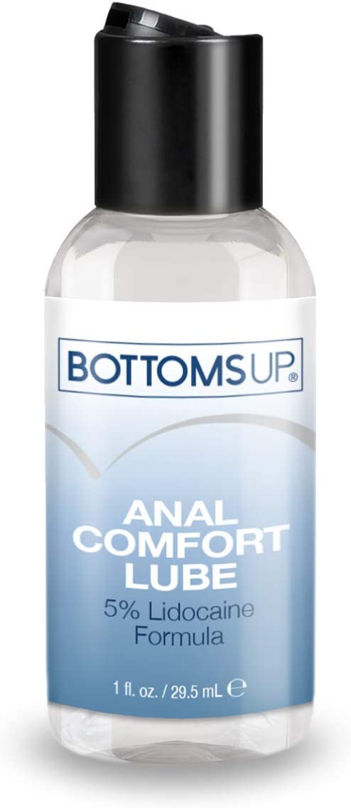 Waterbased Anal Comfort Lubricant, 1 fl. oz. - Bottoms Up® Backdoor Relax Lube, Condom Compatible & Toy-safe Glide, Gently Numbing & Desensitizing to Reduce Pain & Enhance Pleasure, Discreet Package