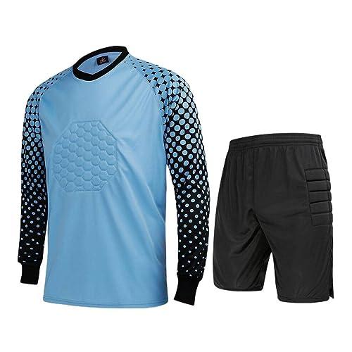 CATERTO Men s Football Goalkeeper Foam Padded Jersey Shirt   Pants Shorts 02452a8e4